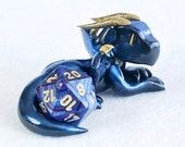 Metallic blue and gold dragon sculpture [made to order] - d20 dice holder - blue polymer clay dragon figurine - dungeons and dragons - DnD