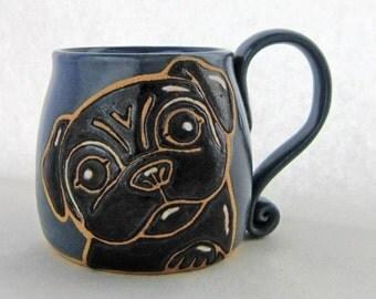 Black Pug Mug, pottery mug, Fathers Day gift,  pug gift, pug lovers gift, holds approx. 13 oz and is dishwasher and microwave safe.
