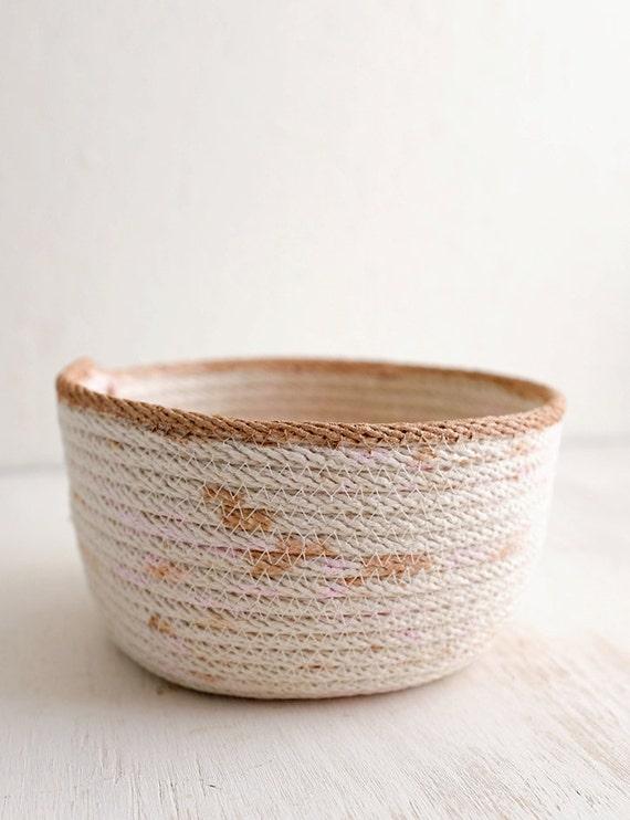 Handmade Rope Basket : Items similar to handmade hand painted rope basket pink