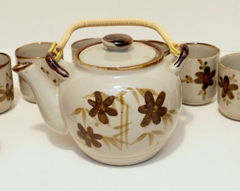 Vintage 1970's-80's Hand Painted Stoneware Tea Set with 10 cups