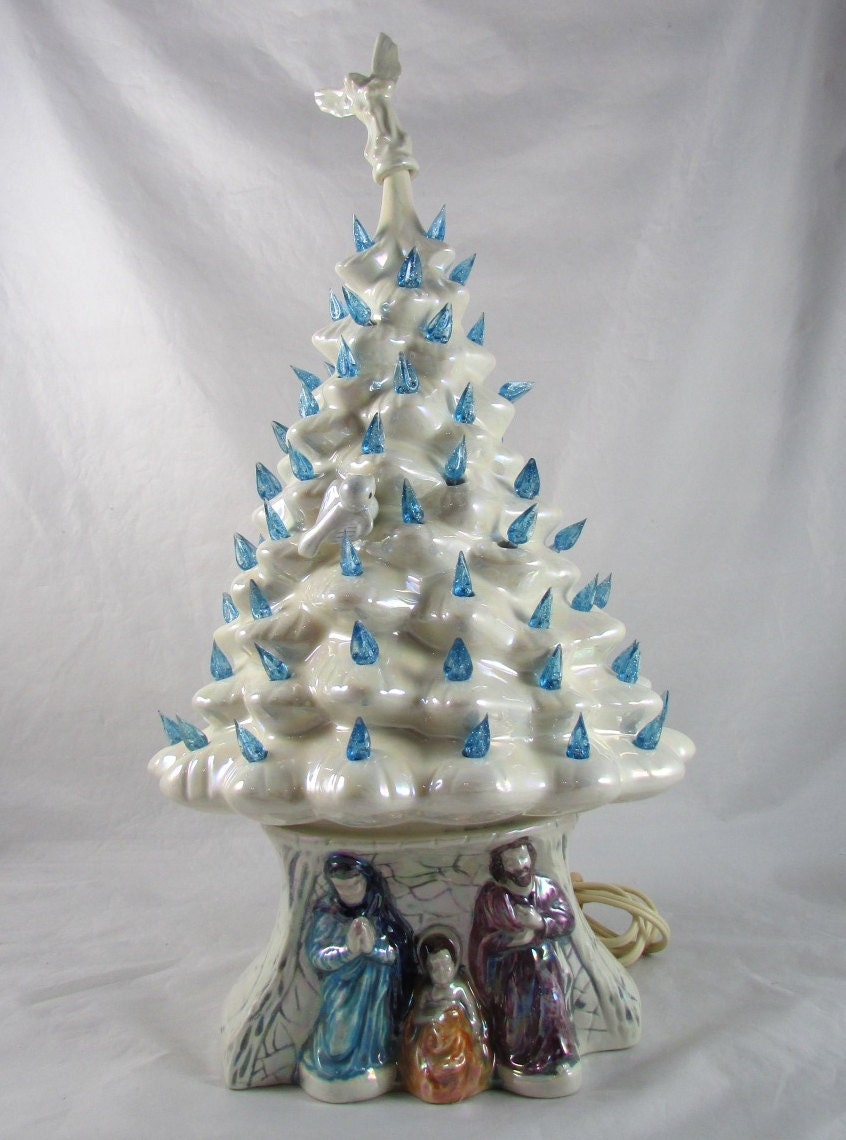 Light Up Ceramic Christmas Tree Nativity Scene Holiday Decor