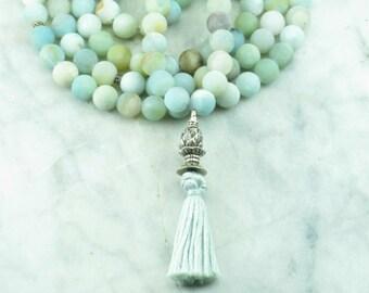 Sapana Mala - Amazonite Mala Beads - Buddhist Prayer Beads, 108 Mala Beads - meditations on the heart chakra, compassion, Product ID 1222