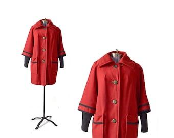 60s Red Coat / Wool Coat / Womens Coat / Red Coat / Car Coat / 1960s Penguin Minnesota Woolen / Women Outerwear / Vintage Clothing Outerwear