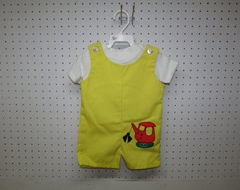 Baby Boy's Outfit. 9 Mo. Yellow with White Knit Shirt, Short Overalls. Tags. NOS. New Old Stock.