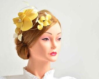 Large yellow fascinator hat Yellow wedding headpiece  Flower headpiece Wedding fascinator Wedding hair flower