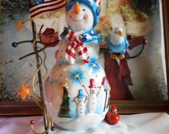 Patriotic Snowman Figurine