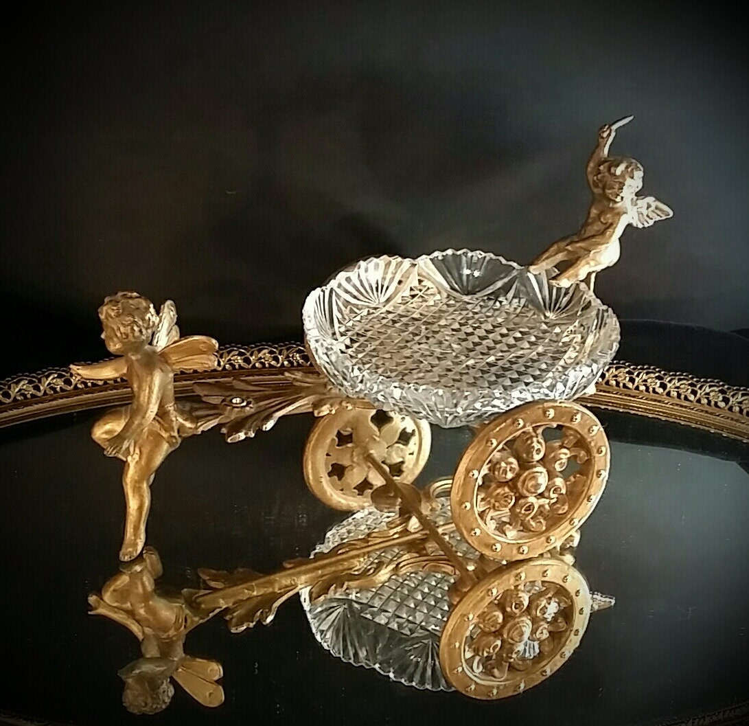Cast Iron Angel Dish Soap Dish Ormolu Chariot Crystal Art
