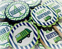 12 - Garbage Truck Birthday Cupcake Toppers - Navy Stripes Lime Green Chevron with grey accents - Party Packs Available