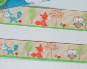 33-Woodland Babies - Fox, Raccoon, Owl -  Grosgrain Ribbon - 3 or  5 yards x 7/8 inch