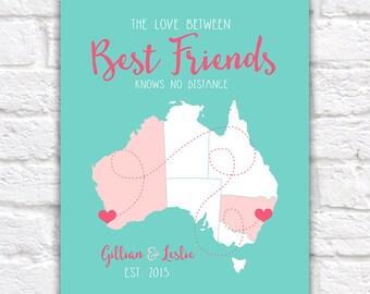 Friend Gifts, Best Friend Birthday, Australia BFF, Australia Map, Aussie Friends, Australian, Gift for Cousin, Sister, Besties | WF75