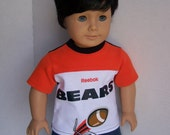 Up-cycled Chicago Bears T Shirt and Football Hat - Fits 18 inch Girl and Boy dolls