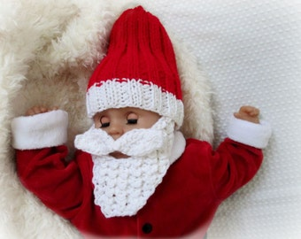 Photo prop one Baby Santa Hat- Detachable beard Red and White Crochet Baby Boy Santa Beanie Crochet Santa bearded beanie crochet beard hat