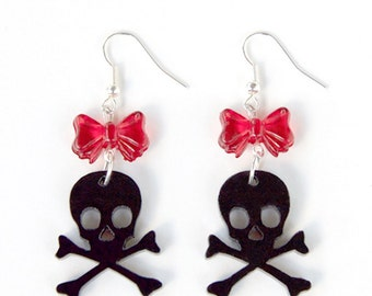 Black Acrylic Skull & Crossbones Jolly Roger Earrings with Beads of your choice