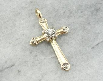 Vintage Yellow Gold Diamond Cross LZ307K-D