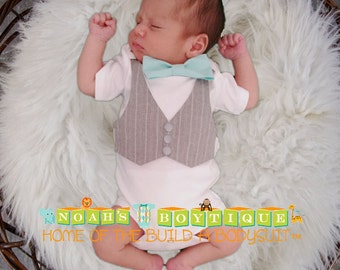 Coming Home Outfit Baby Boy - Hospital Outfit - Newborn Boy Clothes - Newborn Bow Tie - Infant Boy Clothes - Baby Shower Gift