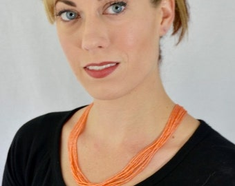 Peach necklace, peachy necklace, seed bead necklace, coral necklace, orange necklace, salmon, bridesmaid jewelry, wedding jewelry