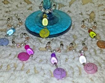 Six Heart Charm Wine Glass Stem Rings (I 416)