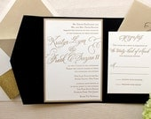 The Begonia Suite - Classic Letterpress Wedding Invitations, Black, Gold, Glitter, Traditional, Timeless, Romantic, Formal, Simple, Vintage