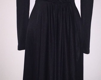 70s Black Faux Wrap Dress