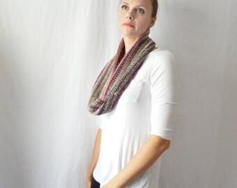 SALE Silk Wool Crochet Infinity Scarf Handmade Knit Cowl Striped Loop Scarf Gift Under 50 Pink Brown Knitwear Winter Knit Accessory