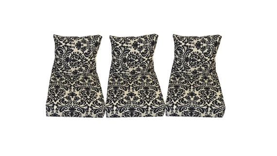Black And Cream Ivory Damask Scroll Cushions For Patio