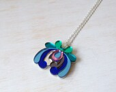 Floral Long Pendant Necklace! Laser-Cut Flower - Pastel Colours Pink Blue Cream Green Silver Lasercut - Summer Festival Tropical