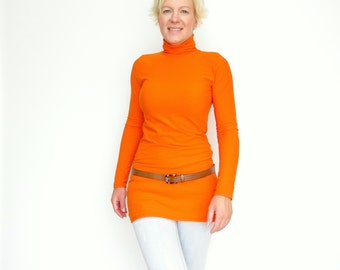 Orange Turtleneck,Turtleneck Dress, Long Tunic Top, Long top, Mock Turtleneck, Womens Turtleneck, Winter Sweater