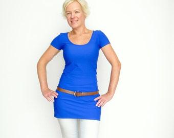 Blue Dress Top, Extra Long Top, Tunic Dress, Dress Tuni Top, Summer Long Shirt, Basic Tunic Top, Summer Tunic Dress