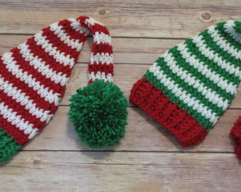 For the TWINS, Set of 2 CHRISTMAS Opposite Hats, pixie pompom hats, photo props, shower gift, boys, girls, My 1st Christmas hats for newborn