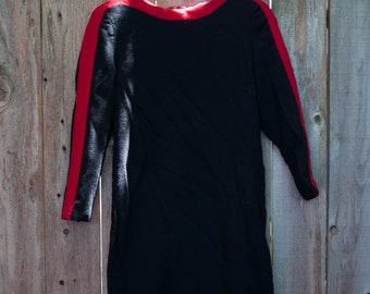 1990s Vintage Black and Red Liz Claiborne Petite Dress