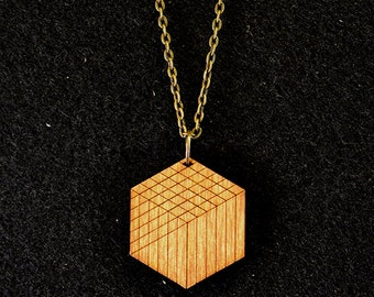 Cube Pendant Necklace - Light Roast
