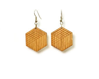 Lasercut wood earrings with geometric design || contemporary jewelry || made in Somerville, MA || gifts for her