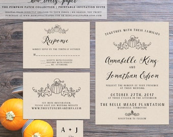 Printable Fall Wedding Invitation Suite - the Pumpkin Patch Collection