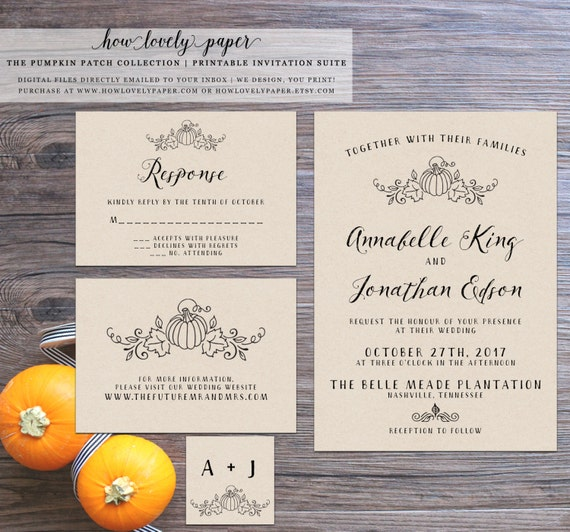 Printable fall wedding invitation suite the pumpkin patch for Fall wedding invitations with pumpkins