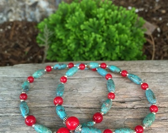 Turquoise and Coral Beaded Stretchy Bracelet with Sterling Silver by Bicycling Buddha B240