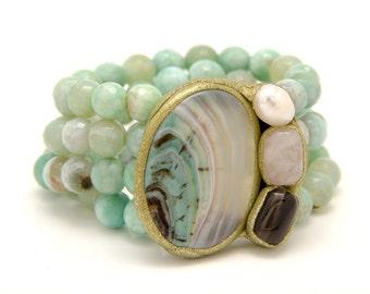Prehnite beaded bracelet - pale green cuff bracelet - green wrap gemstone bracelet - anniversary gift