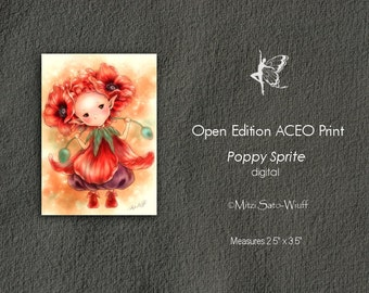 Open Edition ACEO Print 2.5 x 3.5 inches - Whimsical Poppy Sprite - ATC - Cute Little Flower Fairy - Fantasy Art by Mitzi Sato-Wiuff