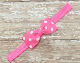 Pink Bow Headband, Pink Headband, Birthday Headband, Pink Polka Dot Headband, Pink Hair Bow, Pink Mouse Headband, Pink Bow, Mouse Hair Bow