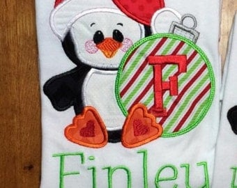 Personalized Christmas Penguin Shirt, Onesie, Romper or Dress