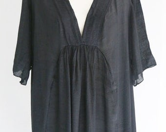 Black Dress Tunic Plus Size Deep V Neckline 2X US18 US20 Casual Smart Sheer Lightweight