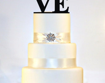 LOVE Winter Wedding Cake Topper with a Snowflake