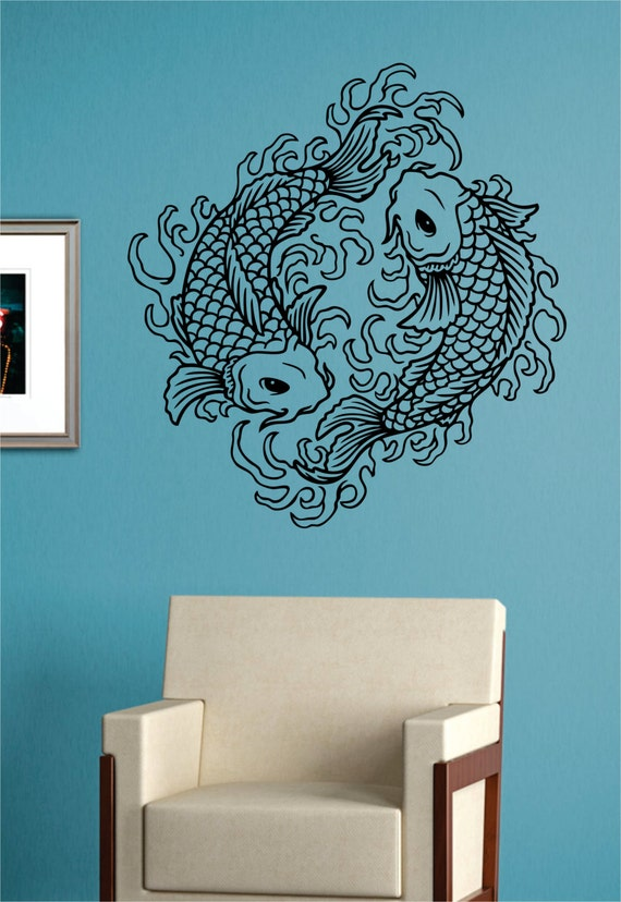 Koi fish version 5 decal sticker wall vinyl art asian japanese for Koi fish wall stickers