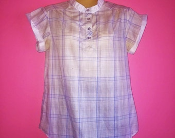1980s Plaid Short Sleeve Blouse, size 6/Small