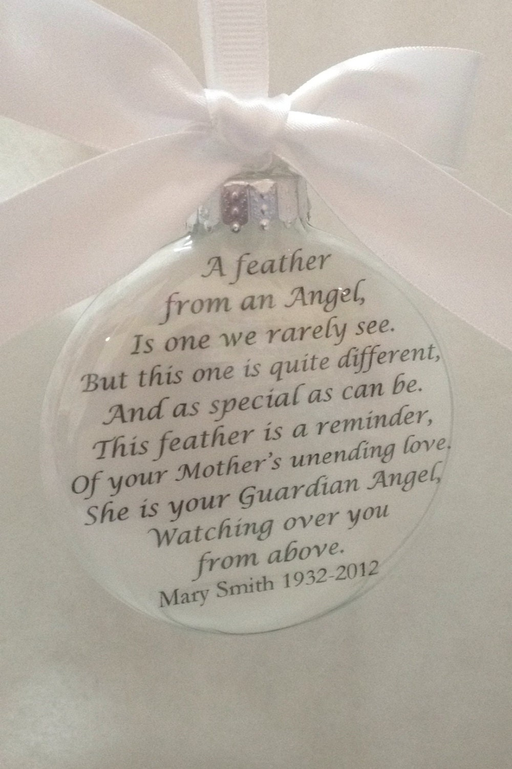 In Memory Ornament of Loved One A Feather From a