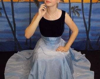 Blue Velvet 1950's Vintage Formal Evening Gown Size S