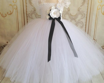 White and black flower girl tutu dress