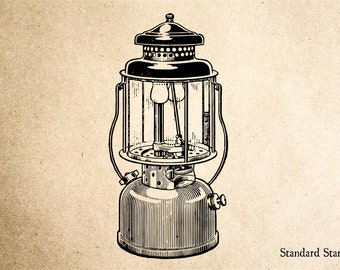 Camping Lantern Rubber Stamp - 2 x 3 inches