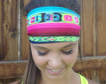 4' wide running /cross training headband Tribal neon yellow, pink, blue black Southwestern