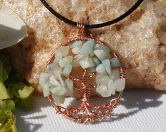 Tree Of Life Necklace Pale Green Chalcedony Pendant On Copper Chain and Copper Wire Wrapped Semi Precious Gemstone Jewelry