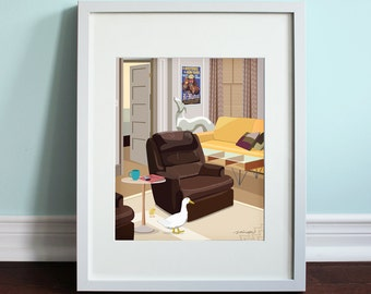 Joey and Chandler's Apartment Living Room - Friends, Friends TV Show Art Print, TV sitcom
